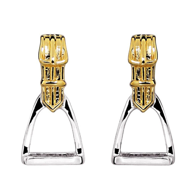 Silver & Gold Plated Equestrian Stirrup Earrings - Paul Wright Jewellery