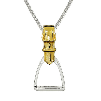 Silver & Gold Plated Equestrian Stirrup Pendant - Paul Wright Jewellery
