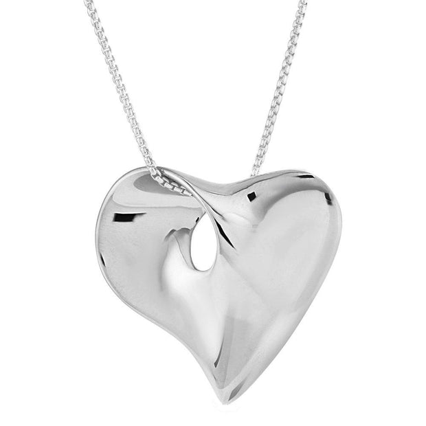 Silver Heart Pendant, Stylish & Bold Design in 925 Sterling Silver - Ref: AEP0711 - Paul Wright Jewellery