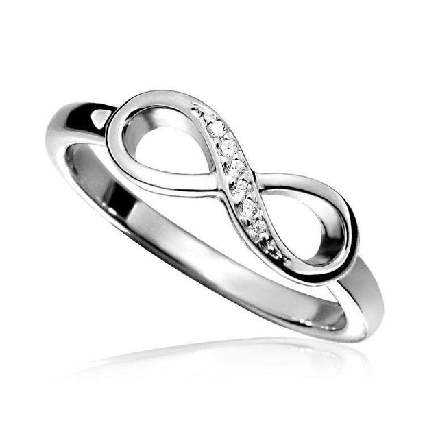 Silver Infinity Ring set with CZ Diamonds, made to your finger size. Ref AE-R006 - Paul Wright Jewellery