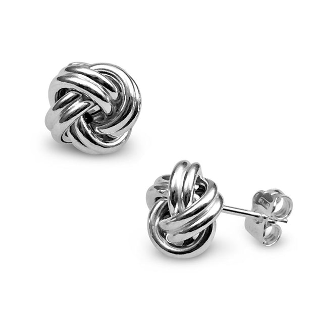 Silver Knot Earrings 8mm or 10mm - Paul Wright Jewellery