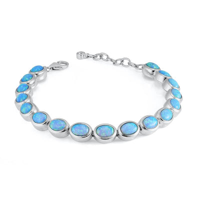 Silver Oval Opal Bracelet - Paul Wright Jewellery