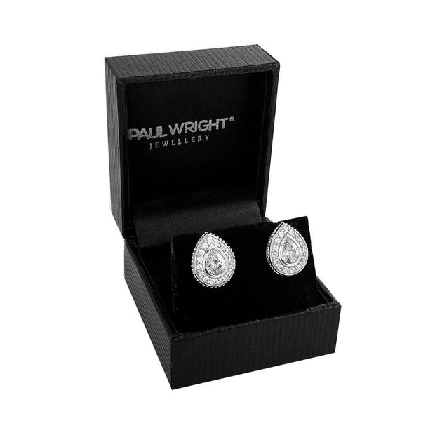 Silver Pear Shape CZ Diamond Earrings - Paul Wright Jewellery