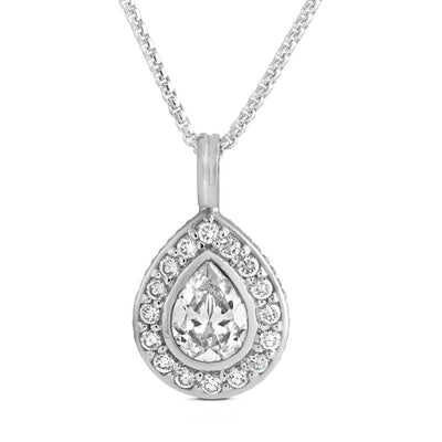 Silver Pear Shape CZ Diamond Pendant - Paul Wright Jewellery