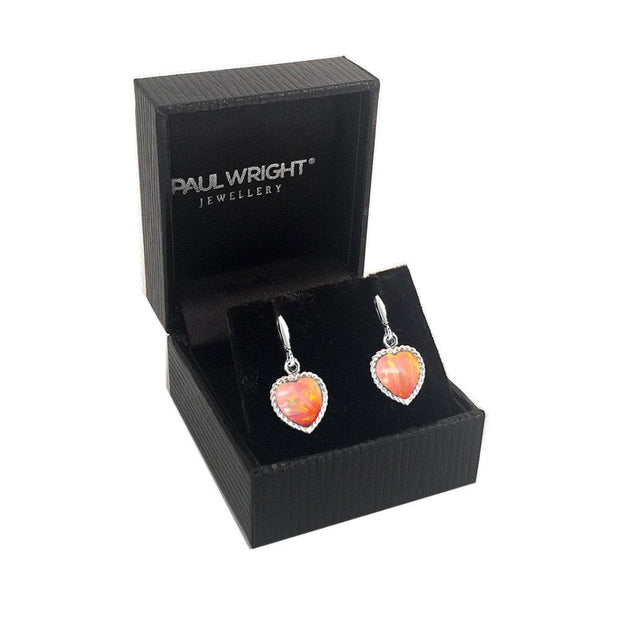 Silver Pink Opal Heart Earrings, Handmade in 925 Silver and set with Vibrant Coral-Pink Opals. Ref AE-E5006-24 - Paul Wright Jewellery