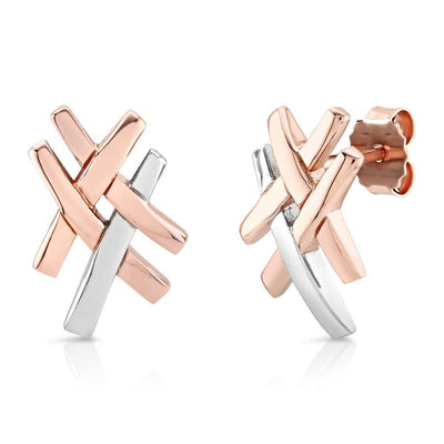 Silver & Rose Gold Crossover Earrings - Paul Wright Jewellery