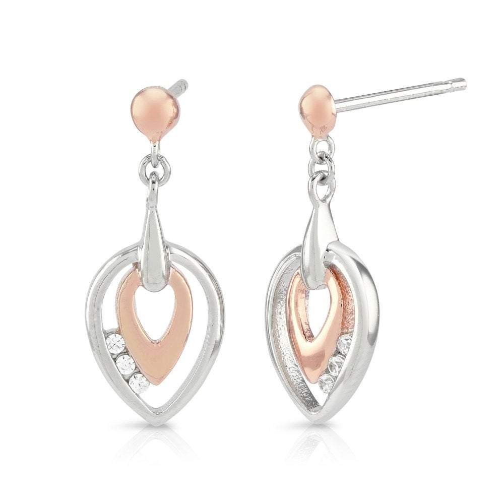Silver & Rose Gold Earrings with CZ Diamonds