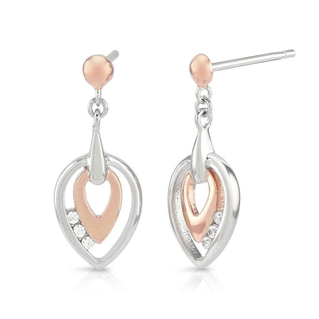 Silver & Rose Gold Earrings with CZ Diamonds - Ref: AE-E5009 - Paul Wright Jewellery