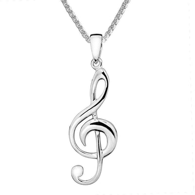 Silver Treble Clef Pendant Necklace, 925 Sterling Silver, for Music Lovers - Ref: AEP035 - Paul Wright Jewellery