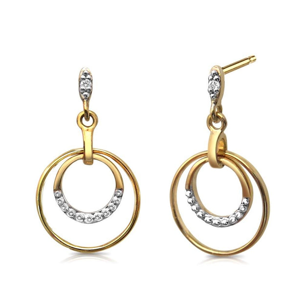 Small 9ct Gold Double Circle Diamond 'Halo' Earrings. Ref: AEGE004 - Paul Wright Jewellery