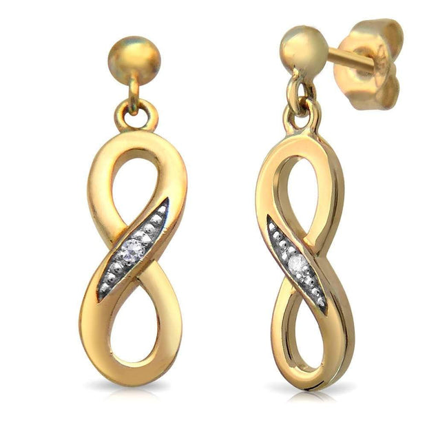 Small 9ct Gold Infinity Earrings set with Real Diamonds (posts with scrolls). AEGE005 - Paul Wright Jewellery