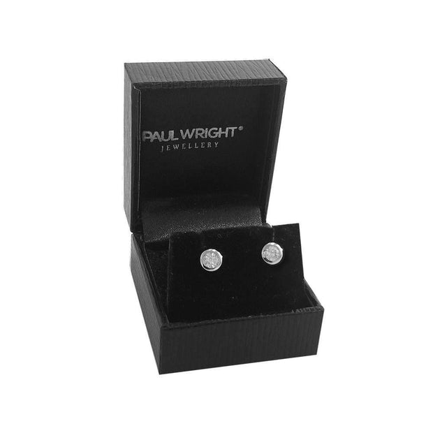 Small CZ Diamond Stud Earrings, 925 Silver, Rub-over Setting (6MM). Ref AE-E0904 - Paul Wright Jewellery