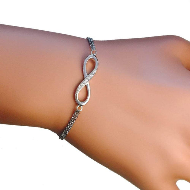 Sterling Silver Infinity Bracelet with CZ Diamonds Ref AE-B009 - Paul Wright Jewellery