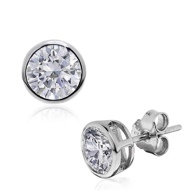 Striking CZ Diamond Stud Earrings, Rub-Over Setting in 925 Silver. Round, Measuring 8.5mm. Ref AE-E026 - Paul Wright Jewellery