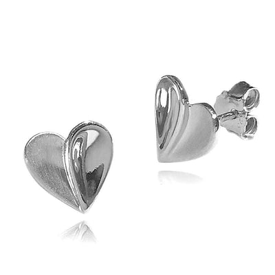 Stylised Heart Shaped Earrings in 925 Sterling Silver with a Polished/Satin Finish. Ref: AE-E5008 - Paul Wright Jewellery