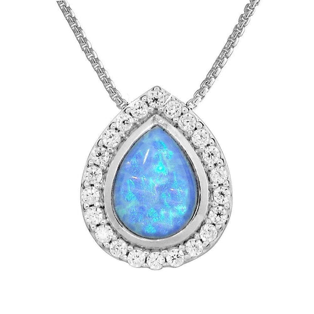 Teardrop Blue Opal Pendant Necklace, Created Opal with CZ Surround, set in 925 Sterling Silver. Ref: AEP5015 - Paul Wright Jewellery