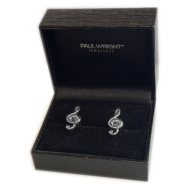 Treble Clef Silver Cufflinks - Paul Wright Jewellery