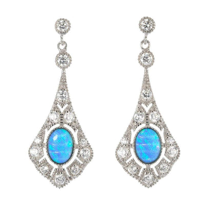 Vibrant Blue Opal and CZ Diamond Drop Earrings based on an Antique Victorian Design. Ref AE-E029 - Paul Wright Jewellery
