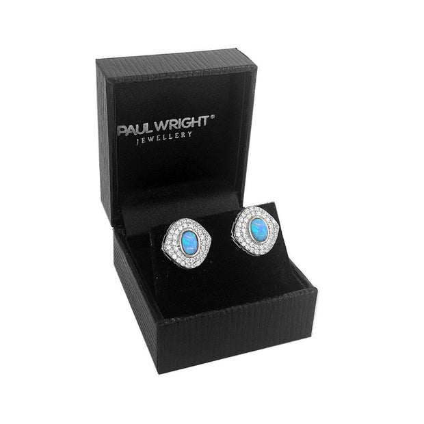 Vibrant Blue Opal & CZ Earrings - Paul Wright Jewellery