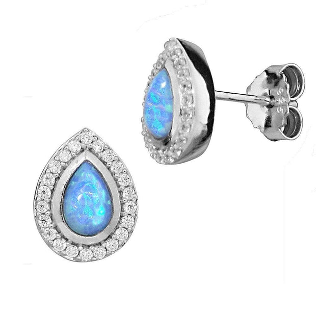 Vibrant Blue Opal Earrings, Pear Shaped in Silver - Paul Wright Jewellery