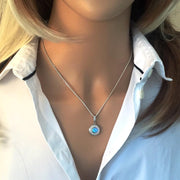Vibrant Blue Opal Pendant Necklace with AAA Cultured Opal & CZ Diamonds in 925 Silver Ref AE-P024 - Paul Wright Jewellery