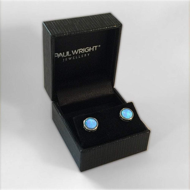 Vibrant Cultured Blue Opal Earrings set in 925 Silver (Round 8mm Stud) Ref AE-E022 - Paul Wright Jewellery