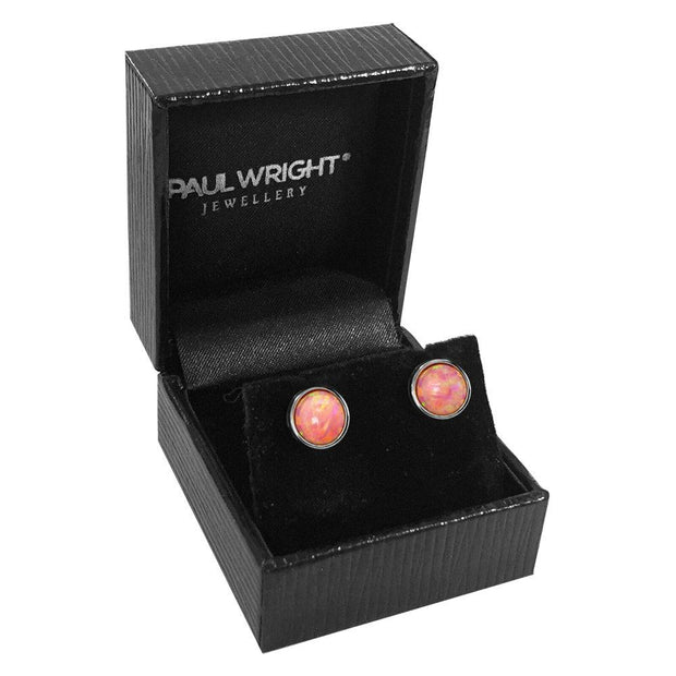 Vibrant Pink Opal Earrings set in 925 Silver, 8MM Round in Coral Pink. Ref AE-E022-24 - Paul Wright Jewellery
