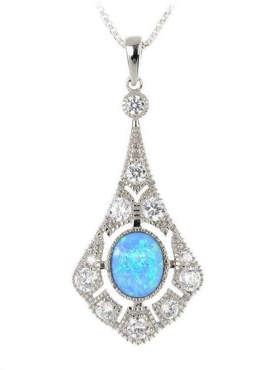 Victorian Style Blue Opal & CZ Diamond Pendant Necklace