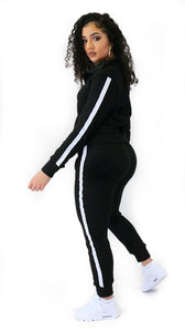 Stripe Jogger Set Black