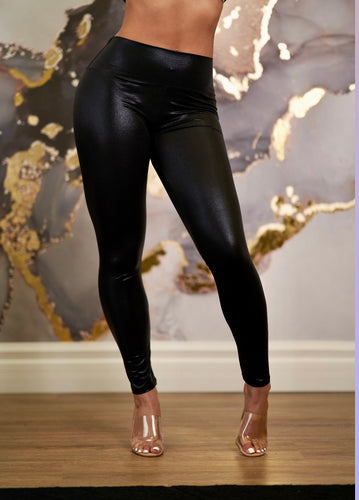 Leather Coating Leggings (Metallic Black)
