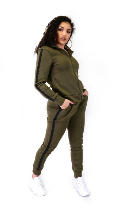 Stripe Jogger Set Olive