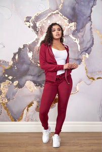 Let's Chill Jogger Set Burgundy