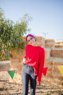 Folk Top Flannel Sweater In RED***