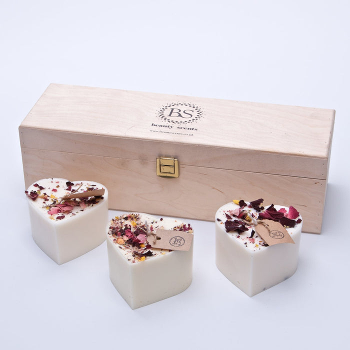 Gift Set of 3 Heart Shape Candles with Rose Petals