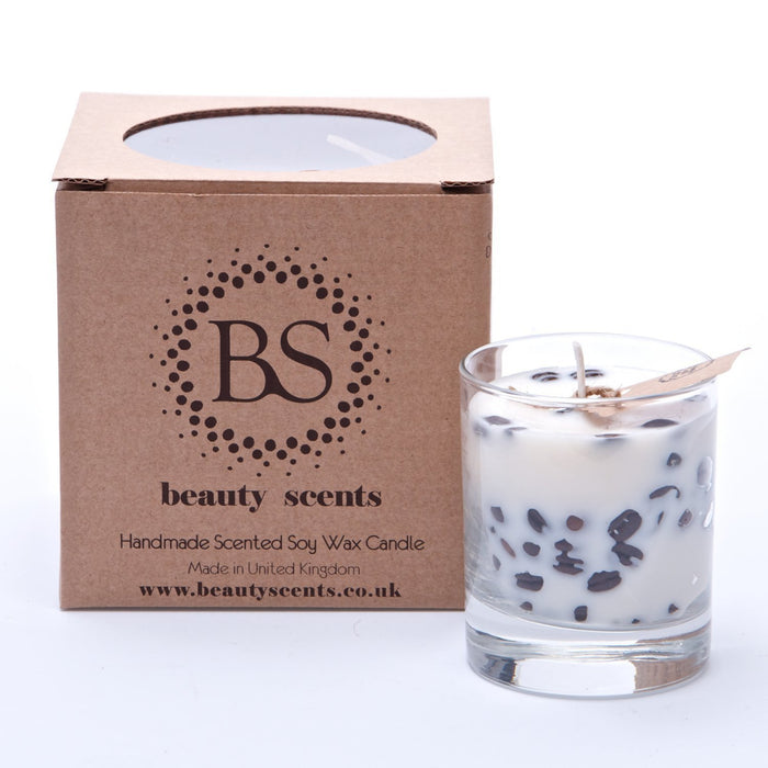 Scented Soy Wax Candle with Coffee Beans Glass Jar (6er)