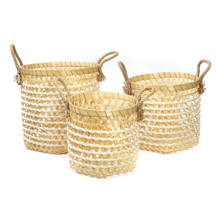 The Bamboo Macrame Baskets - Set 3