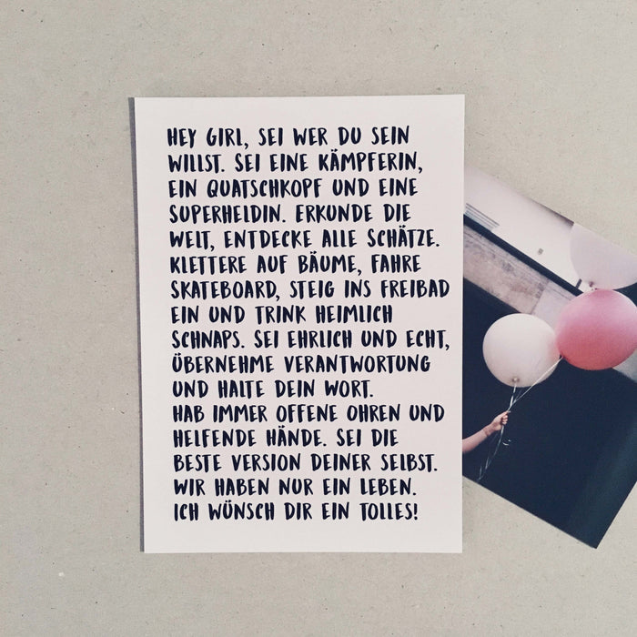 Text Edition Postkarte: Hey girl