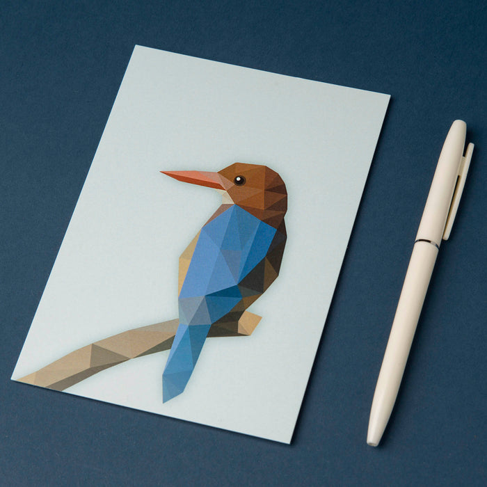 Postkarte - Low Poly Eisvogel