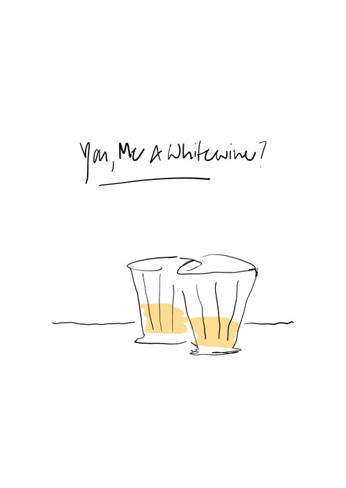 You and Me Edition Postkarte: white wine