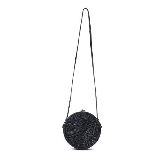 Poppy and Sage black circle rattan straw shoulder bag handmade in Bali. Front full strap photo.