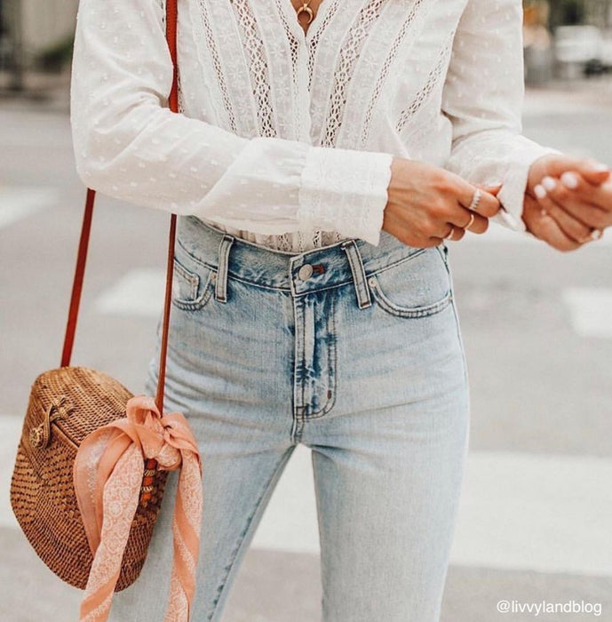 Poppy and Sage woman jeans white shirt chloe straw rattan shoulder bag in a unique handmade in Bali.