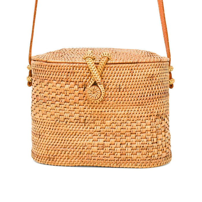 Poppy and Sage chloe straw rattan shoulder bag in a unique style handmade by women artisans in Bali.