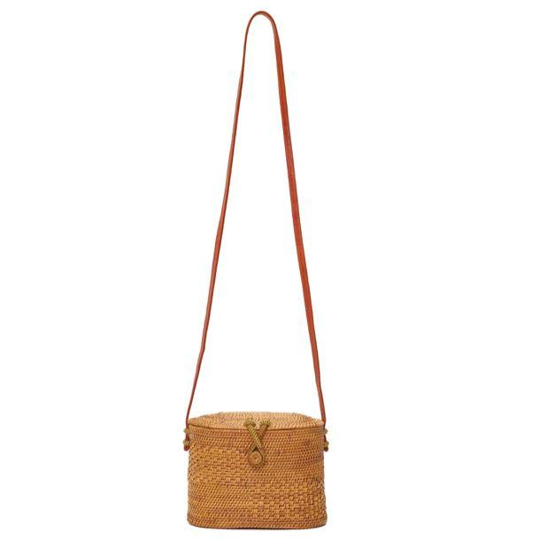 Poppy and Sage chloe straw rattan shoulder bag in a unique style handmade in Bali. Full strap bag.