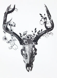 Deer Skull with Charcoal Flowers - Screen Print