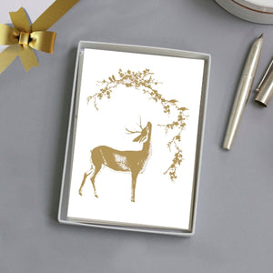 5 x Greeting Cards - Deer in the Golden Woods