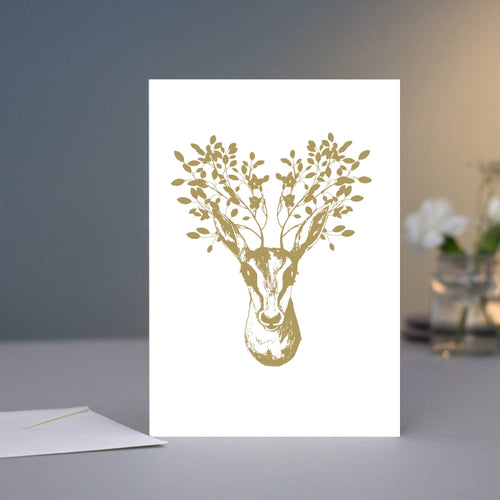 Greeting Card - Deer With Golden Flowers
