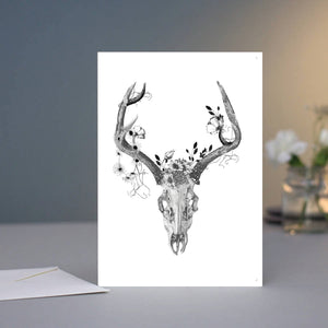 Greeting Card - Deer Skull with Charcoal Flowers