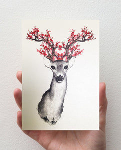 Greeting Card - Doe with the Blossom Thoughts