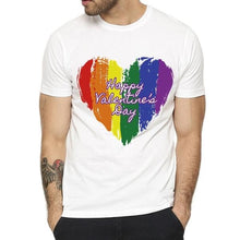 "Load image into Gallery viewer, ""Happy Valentine's Day"" LGBT Rainbow Men's Pride T-shirt - Peaceful Pride"