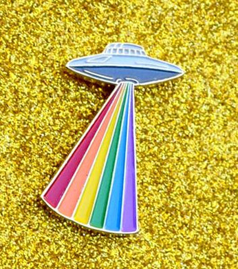Rainbow Alien Ship Enamel Pin - Peaceful Pride